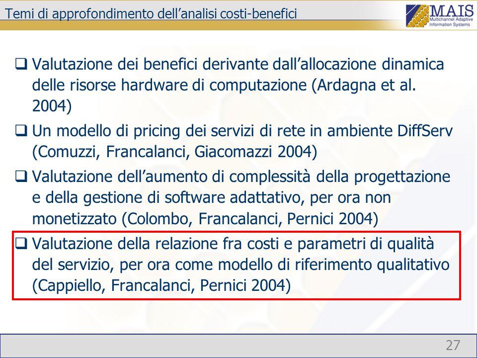 27 Temi di approfondimento dell'analisi costi-benefici  Valutazione dei benefici derivante dall'allocazione dinamica delle risorse hardware di computazione (Ardagna et al.