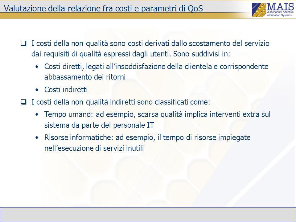 Valutazione della relazione fra costi e parametri di QoS  I costi della non qualità sono costi derivati dallo scostamento del servizio dai requisiti di qualità espressi dagli utenti.