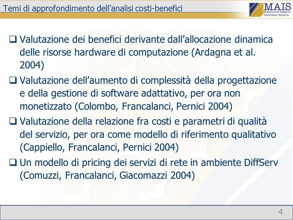 4 Temi di approfondimento dell'analisi costi-benefici  Valutazione dei benefici derivante dall'allocazione dinamica delle risorse hardware di computazione (Ardagna et al.