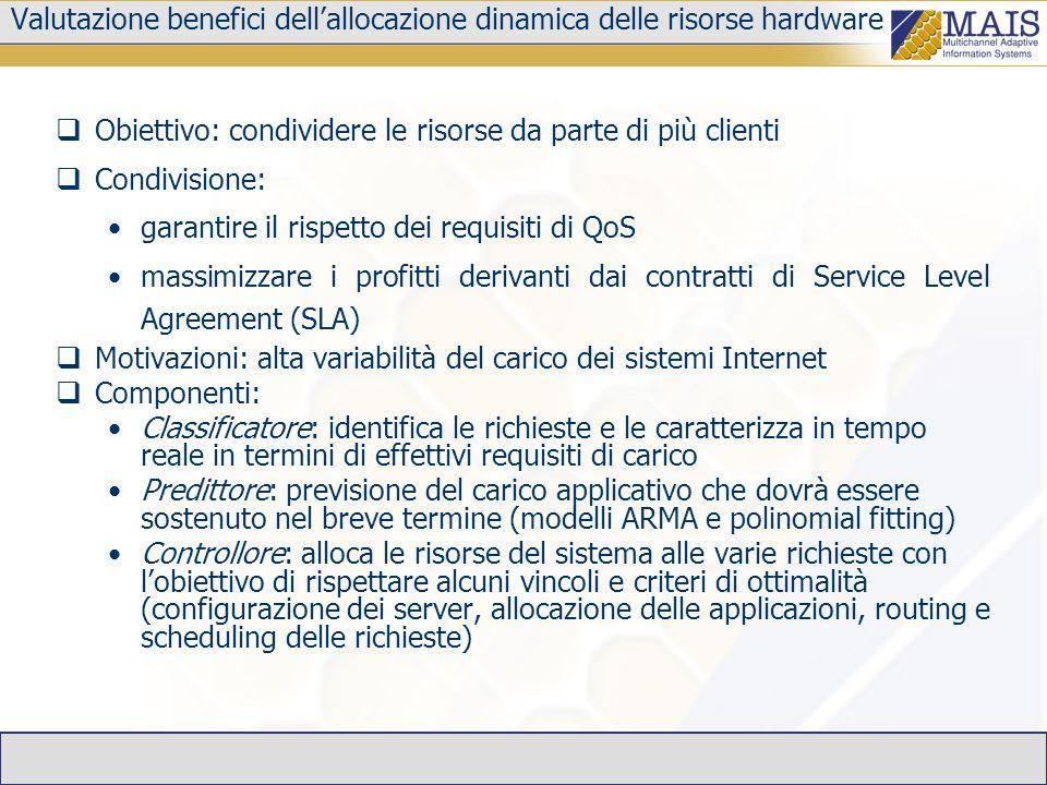 Valutazione benefici dell'allocazione dinamica delle risorse hardware  Obiettivo: condividere le risorse da parte di più clienti  Condivisione: gara
