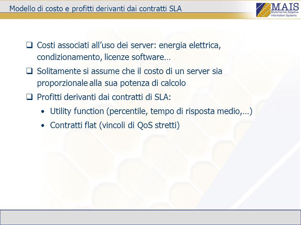 Modello di costo e profitti derivanti dai contratti SLA  Costi associati all'uso dei server: energia elettrica, condizionamento, licenze software…  Solitamente si assume che il costo di un server sia proporzionale alla sua potenza di calcolo  Profitti derivanti dai contratti di SLA: Utility function (percentile, tempo di risposta medio,…) Contratti flat (vincoli di QoS stretti)