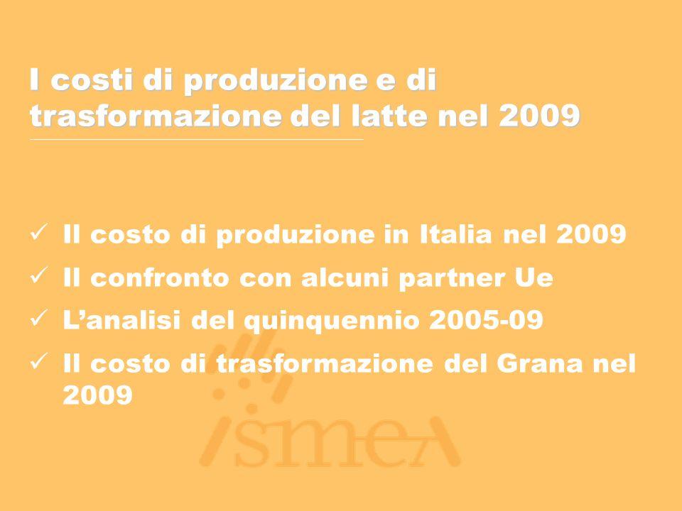 I costi di produzione e di trasformazione del latte nel 2009 Il costo di produzione in Italia nel 2009 Il confronto con alcuni partner Ue L'analisi del quinquennio 2005-09 Il costo di trasformazione del Grana nel 2009