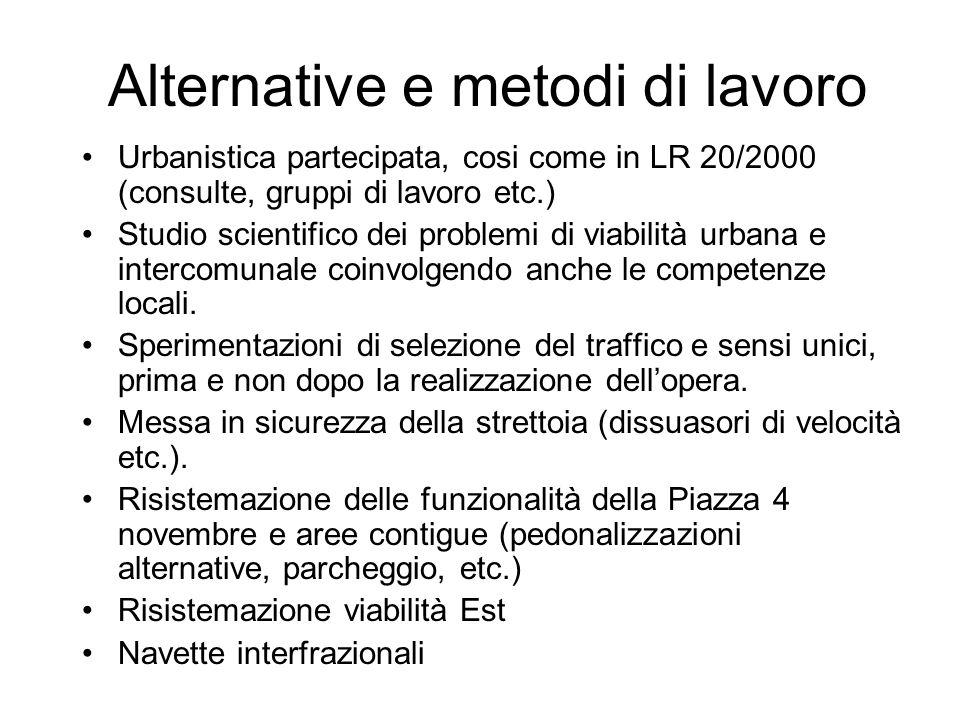 Alternative e metodi di lavoro Urbanistica partecipata, cosi come in LR 20/2000 (consulte, gruppi di lavoro etc.) Studio scientifico dei problemi di viabilità urbana e intercomunale coinvolgendo anche le competenze locali.