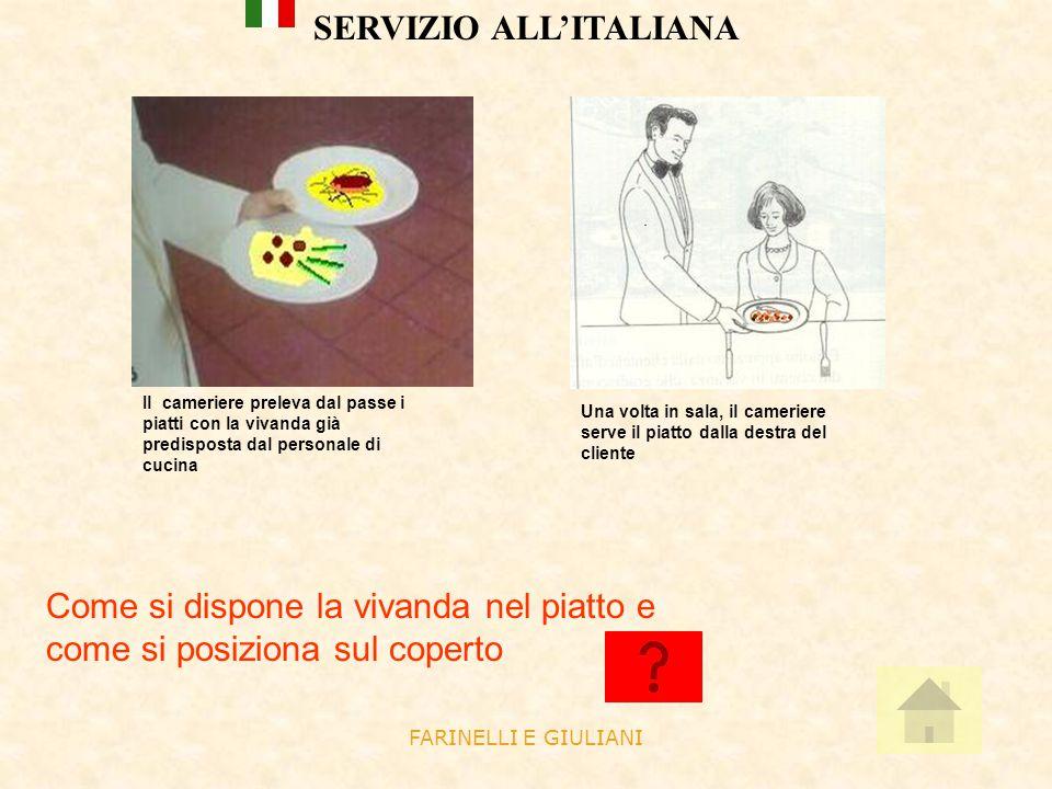 FARINELLI E GIULIANI SERVIZIO ALL'ITALIANA Il cameriere preleva dal passe i piatti con la vivanda già predisposta dal personale di cucina Una volta in