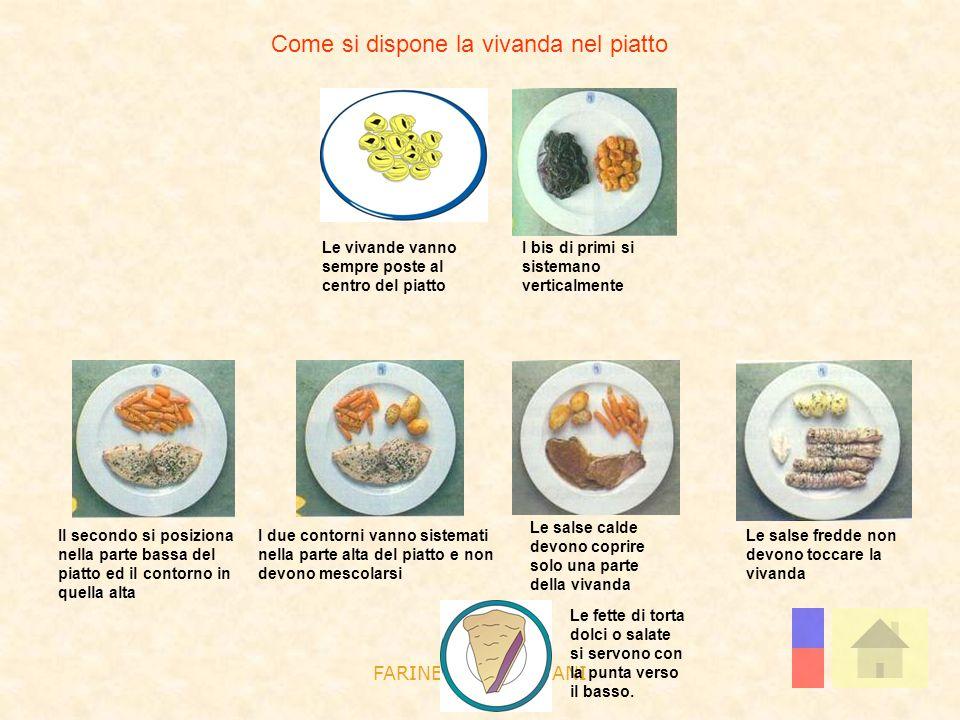 FARINELLI E GIULIANI Come si dispone la vivanda nel piatto Le vivande vanno sempre poste al centro del piatto Le fette di torta dolci o salate si serv