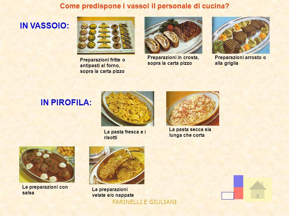 FARINELLI E GIULIANI Come predispone i vassoi il personale di cucina? IN VASSOIO: Preparazioni fritte o antipasti al forno, sopra la carta pizzo Prepa