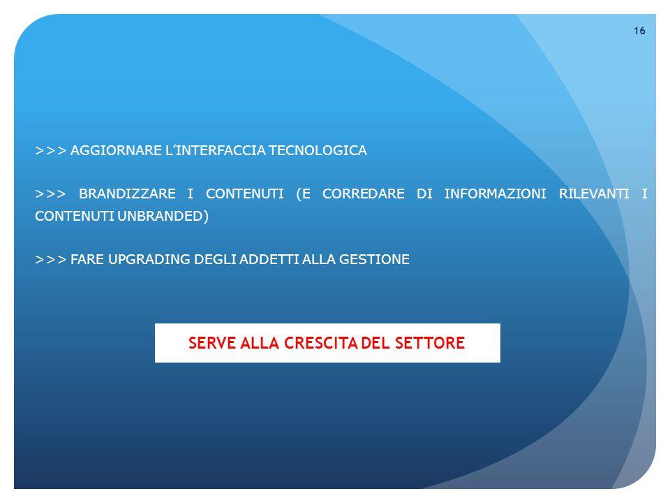 >>> AGGIORNARE L'INTERFACCIA TECNOLOGICA >>> BRANDIZZARE I CONTENUTI (E CORREDARE DI INFORMAZIONI RILEVANTI I CONTENUTI UNBRANDED) >>> FARE UPGRADING DEGLI ADDETTI ALLA GESTIONE 16 SERVE ALLA CRESCITA DEL SETTORE