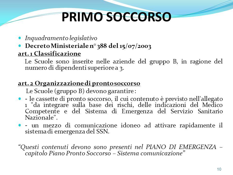 PRIMO SOCCORSO Inquadramento legislativo Decreto Ministeriale n° 388 del 15/07/2003 art. 1 Classificazione Le Scuole sono inserite nelle aziende del g