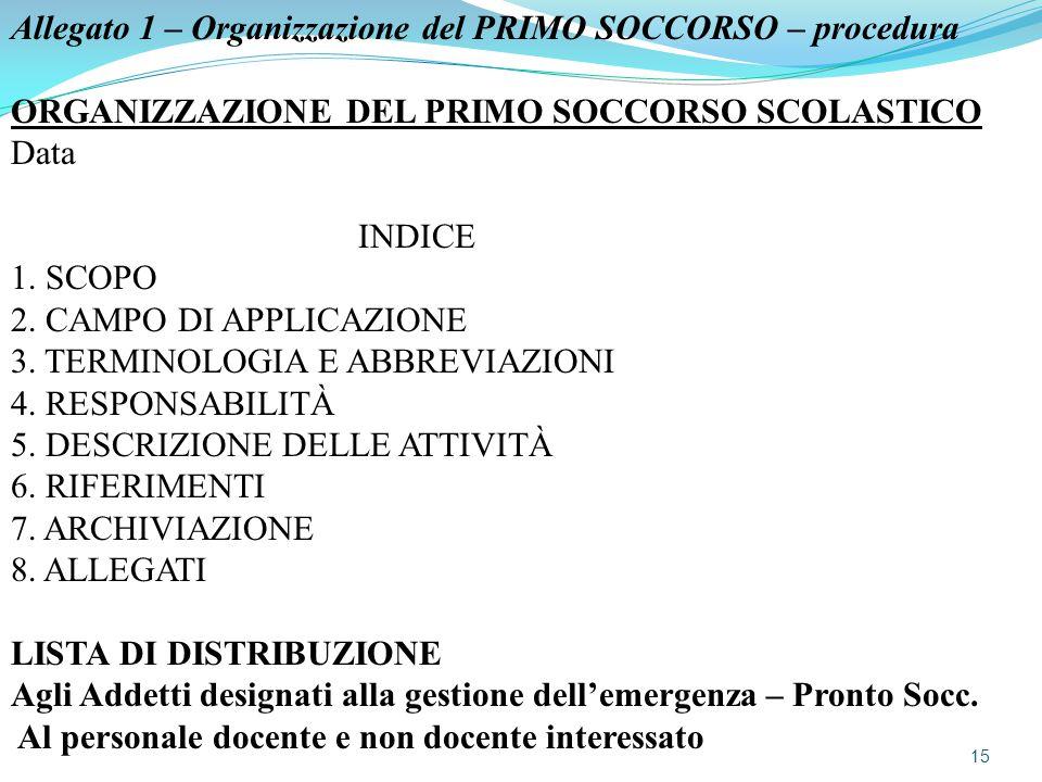 Allegato 1 – Organizzazione del PRIMO SOCCORSO – procedura ORGANIZZAZIONE DEL PRIMO SOCCORSO SCOLASTICO Data INDICE 1. SCOPO 2. CAMPO DI APPLICAZIONE
