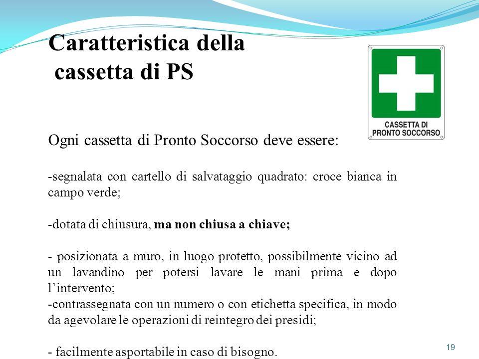 Caratteristica della cassetta di PS Ogni cassetta di Pronto Soccorso deve essere: -segnalata con cartello di salvataggio quadrato: croce bianca in cam