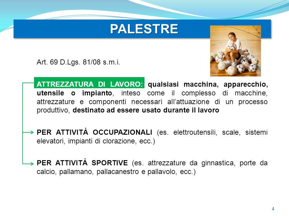 PALESTRE PALESTRE Art. 69 D.Lgs. 81/08 s.m.i. ATTREZZATURA DI LAVORO: qualsiasi macchina, apparecchio, utensile o impianto, inteso come il complesso d