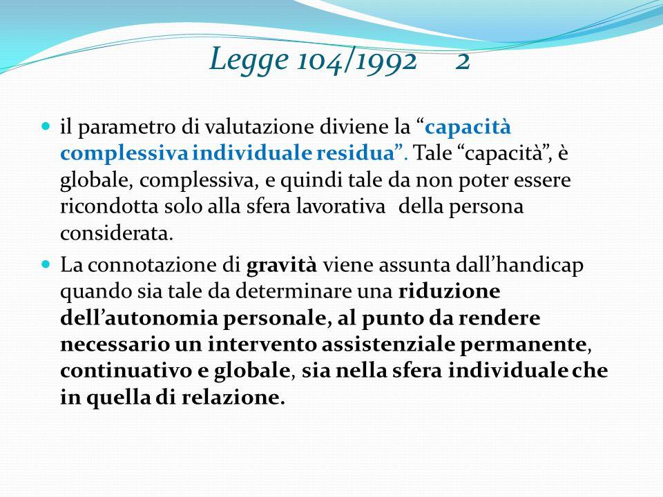 Legge 104/1992 2 il parametro di valutazione diviene la capacità complessiva individuale residua .