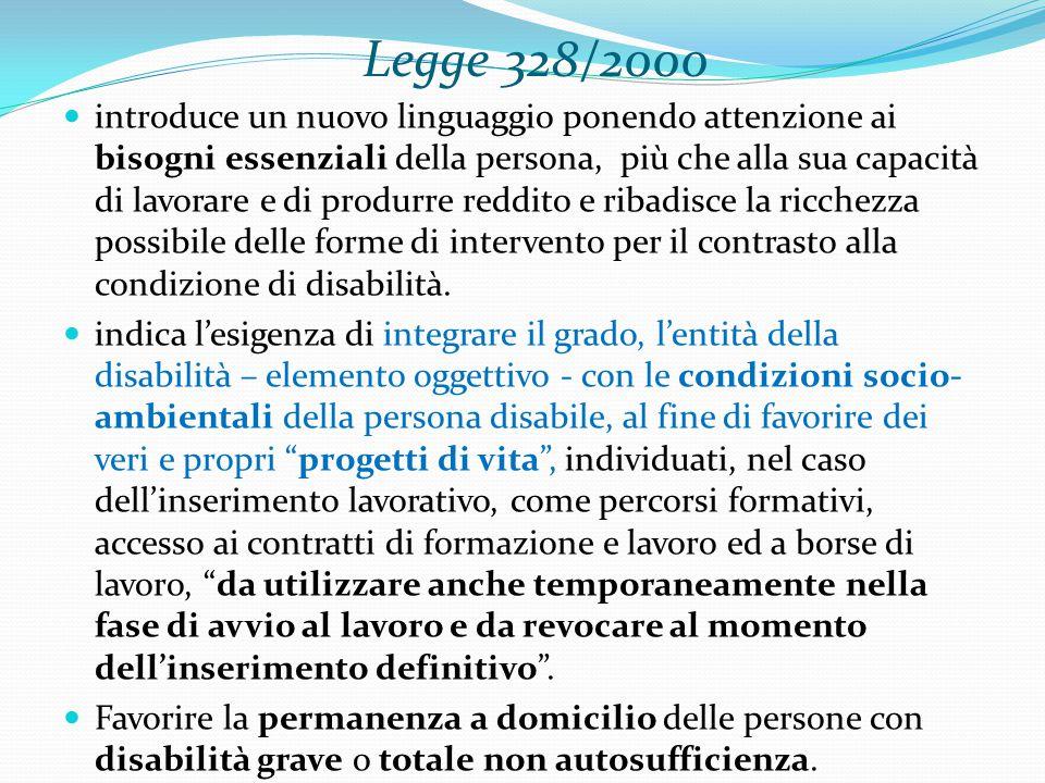 Legge 328/2000 introduce un nuovo linguaggio ponendo attenzione ai bisogni essenziali della persona, più che alla sua capacità di lavorare e di produrre reddito e ribadisce la ricchezza possibile delle forme di intervento per il contrasto alla condizione di disabilità.