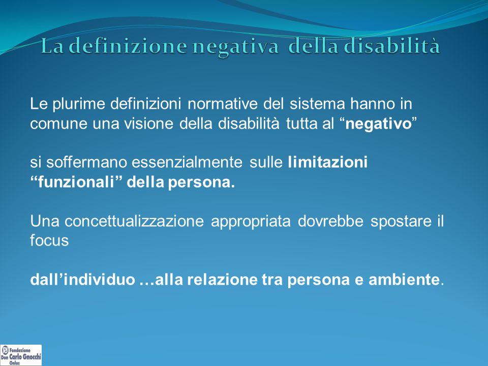Le plurime definizioni normative del sistema hanno in comune una visione della disabilità tutta al negativo si soffermano essenzialmente sulle limitazioni funzionali della persona.