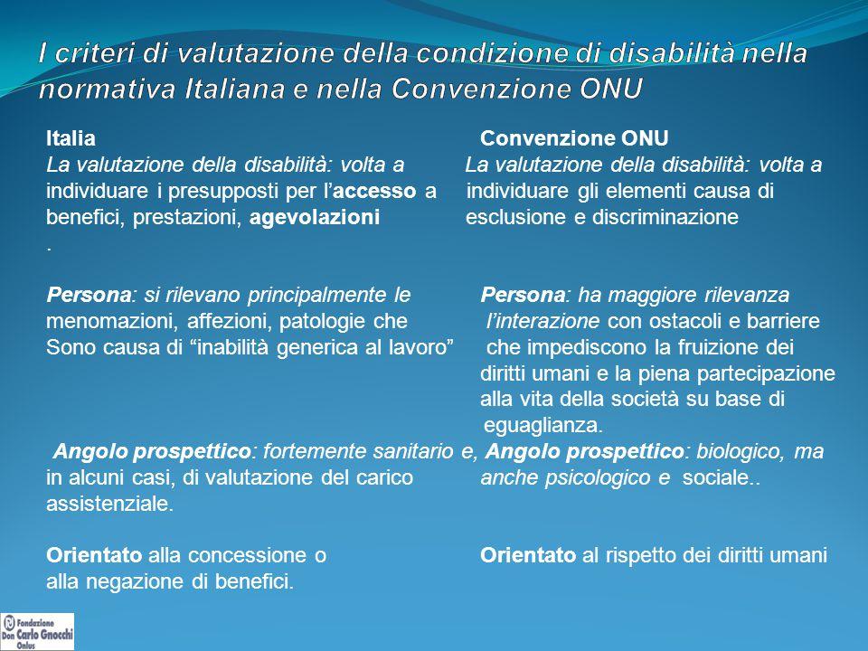 Italia Convenzione ONU La valutazione della disabilità: volta a individuare i presupposti per l'accesso a individuare gli elementi causa di benefici, prestazioni, agevolazioni esclusione e discriminazione.