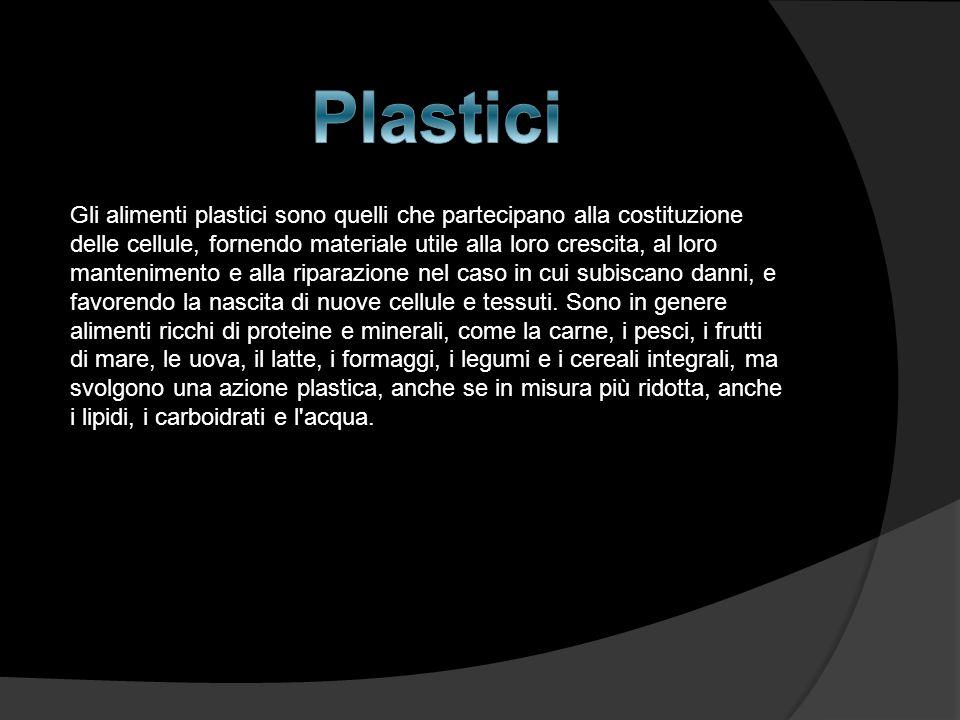 Gli alimenti plastici sono quelli che partecipano alla costituzione delle cellule, fornendo materiale utile alla loro crescita, al loro mantenimento e