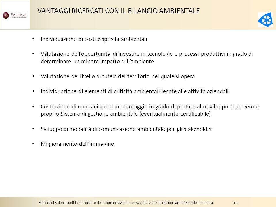 Facoltà di Scienze politiche, sociali e della comunicazione – A.A. 2012-2013 | Responsabilità sociale d'impresa 14 VANTAGGI RICERCATI CON IL BILANCIO
