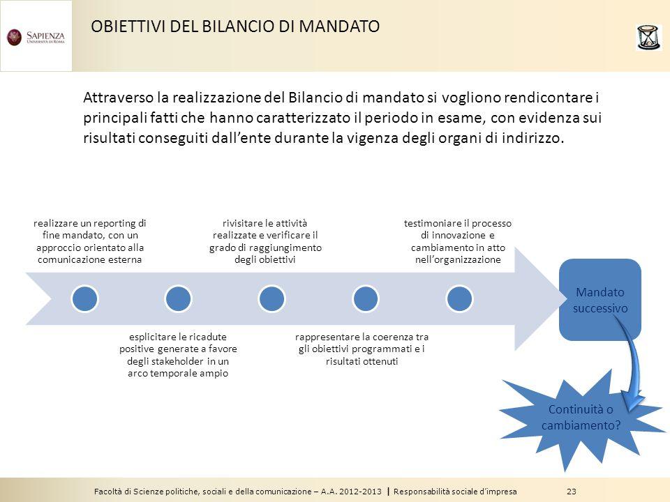 Facoltà di Scienze politiche, sociali e della comunicazione – A.A. 2012-2013 | Responsabilità sociale d'impresa 23 Mandato successivo OBIETTIVI DEL BI