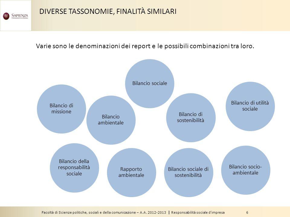 Facoltà di Scienze politiche, sociali e della comunicazione – A.A. 2012-2013 | Responsabilità sociale d'impresa 6 DIVERSE TASSONOMIE, FINALITÀ SIMILAR