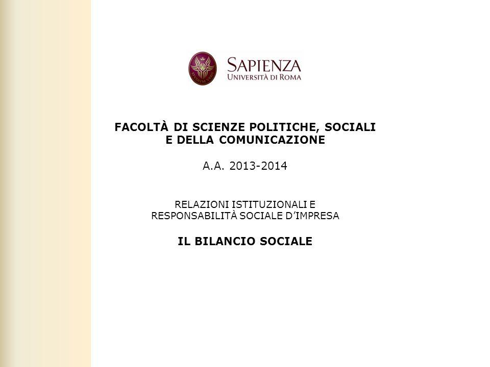 Facoltà di Scienze politiche, sociali e della comunicazione – A.A. 2011-2012   Responsabilità sociale d'impresa 1 FACOLTÀ DI SCIENZE POLITICHE, SOCIAL
