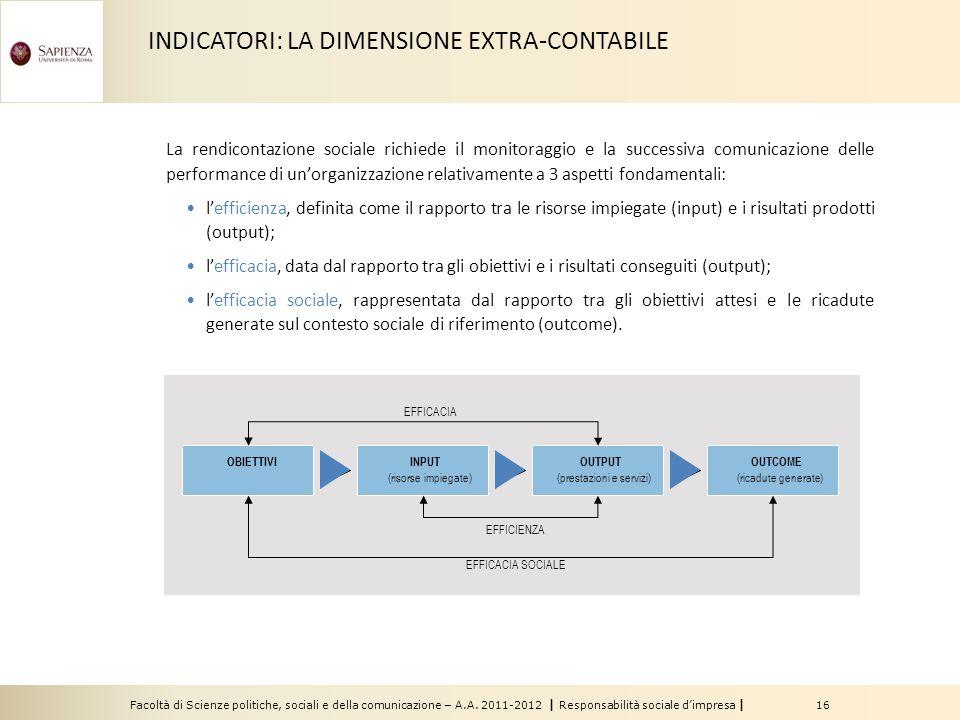 Facoltà di Scienze politiche, sociali e della comunicazione – A.A. 2011-2012   Responsabilità sociale d'impresa   16 La rendicontazione sociale richie