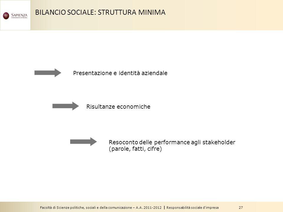 Facoltà di Scienze politiche, sociali e della comunicazione – A.A. 2011-2012   Responsabilità sociale d'impresa 27 BILANCIO SOCIALE: STRUTTURA MINIMA