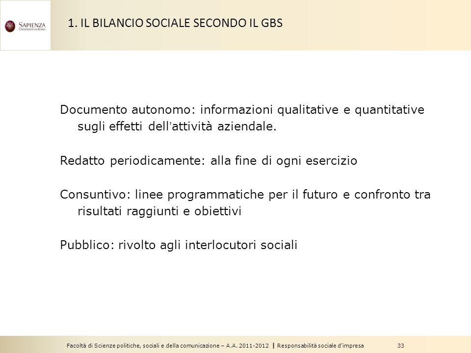 Facoltà di Scienze politiche, sociali e della comunicazione – A.A. 2011-2012   Responsabilità sociale d'impresa 33 Documento autonomo: informazioni qu
