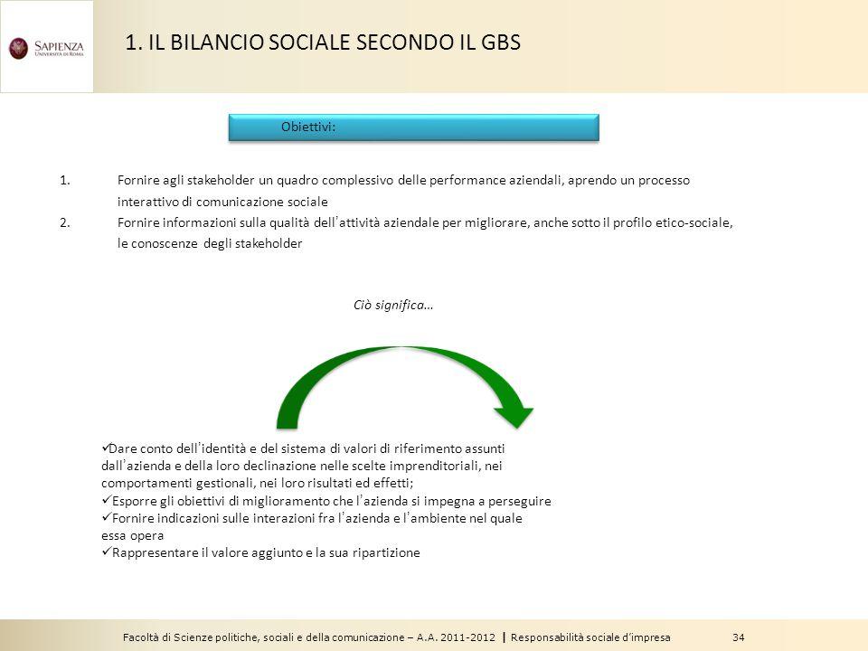 Facoltà di Scienze politiche, sociali e della comunicazione – A.A. 2011-2012   Responsabilità sociale d'impresa 34 Obiettivi: 1.Fornire agli stakehold