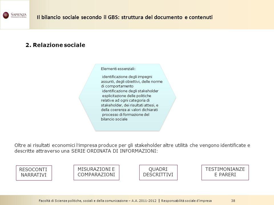 Facoltà di Scienze politiche, sociali e della comunicazione – A.A. 2011-2012   Responsabilità sociale d'impresa 38 2. Relazione sociale Oltre ai risul