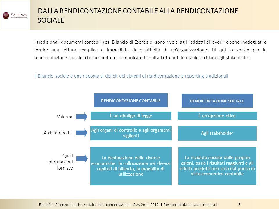 Facoltà di Scienze politiche, sociali e della comunicazione – A.A. 2011-2012   Responsabilità sociale d'impresa   5 RENDICONTAZIONE CONTABILE RENDICON