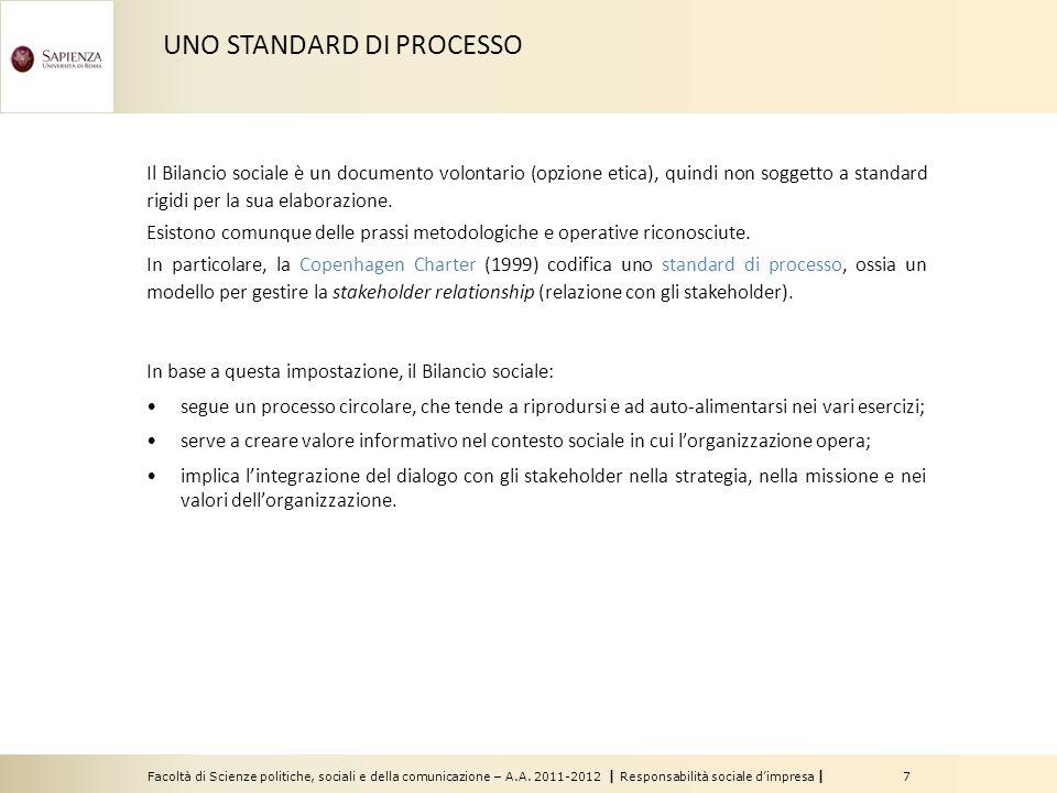 Facoltà di Scienze politiche, sociali e della comunicazione – A.A. 2011-2012   Responsabilità sociale d'impresa   7 Il Bilancio sociale è un documento