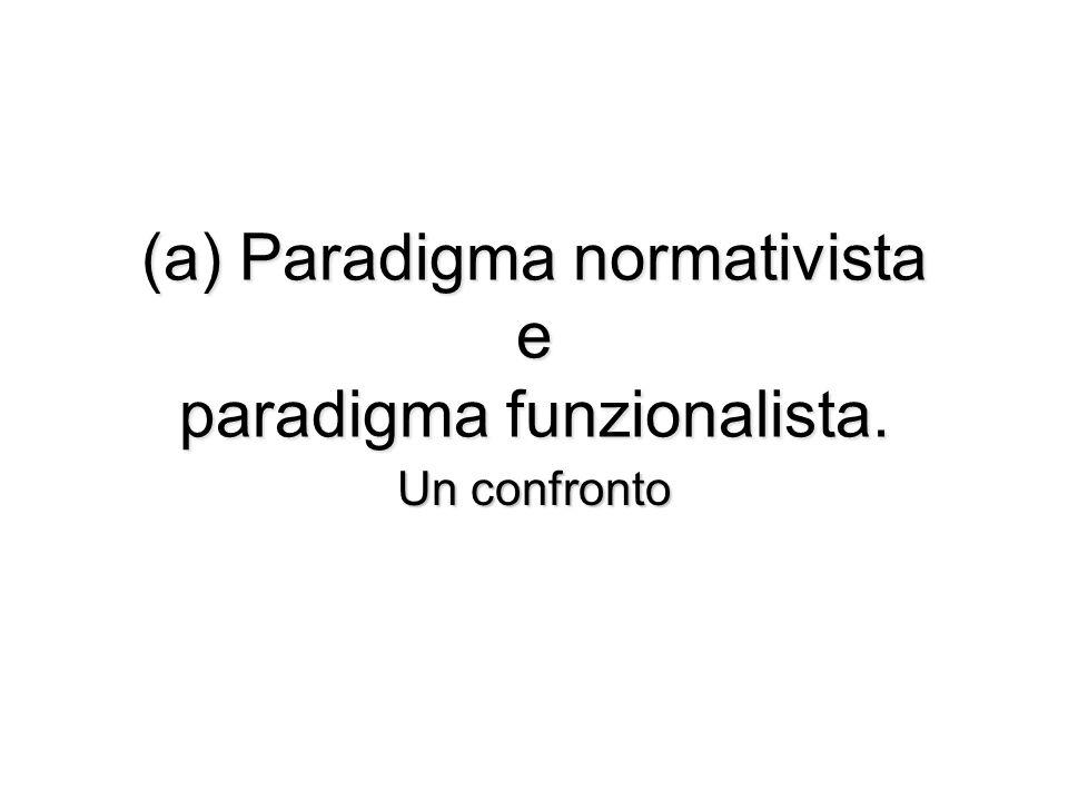 (a) Paradigma normativista e paradigma funzionalista. Un confronto