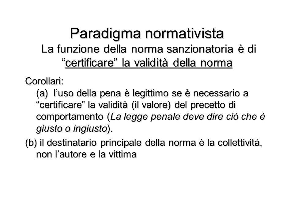 """Paradigma normativista La funzione della norma sanzionatoria è di """"certificare"""" la validità della norma Corollari: (a) l'uso della pena è legittimo se"""