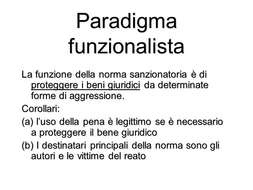 Paradigma funzionalista La funzione della norma sanzionatoria è di proteggere i beni giuridici da determinate forme di aggressione.