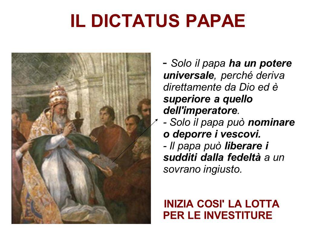 IL DICTATUS PAPAE - Solo il papa ha un potere universale, perché deriva direttamente da Dio ed è superiore a quello dell'imperatore. - Solo il papa pu