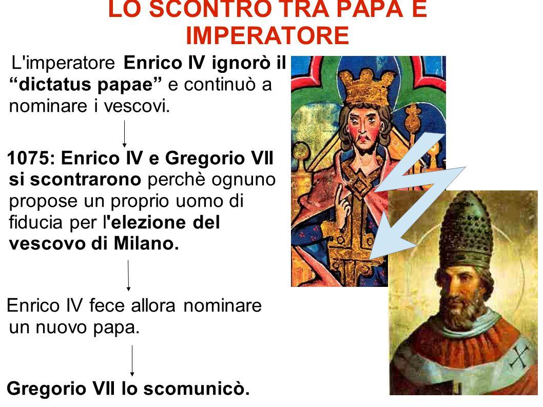 """LO SCONTRO TRA PAPA E IMPERATORE L'imperatore Enrico IV ignorò il """"dictatus papae"""" e continuò a nominare i vescovi. 1075: Enrico IV e Gregorio VII si"""