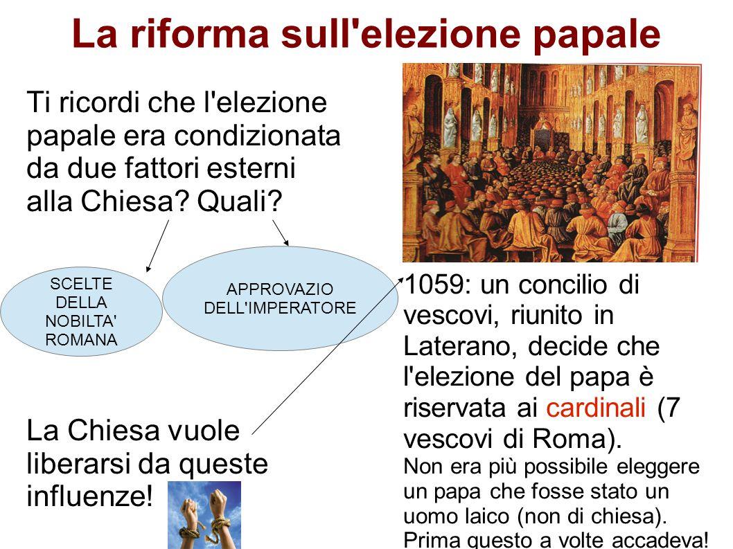 La riforma sull'elezione papale Ti ricordi che l'elezione papale era condizionata da due fattori esterni alla Chiesa? Quali? La Chiesa vuole liberarsi