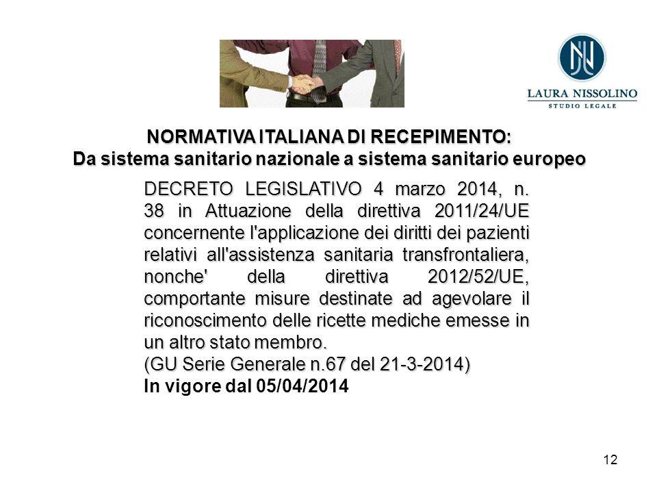 12 NORMATIVA ITALIANA DI RECEPIMENTO: Da sistema sanitario nazionale a sistema sanitario europeo DECRETO LEGISLATIVO 4 marzo 2014, n.