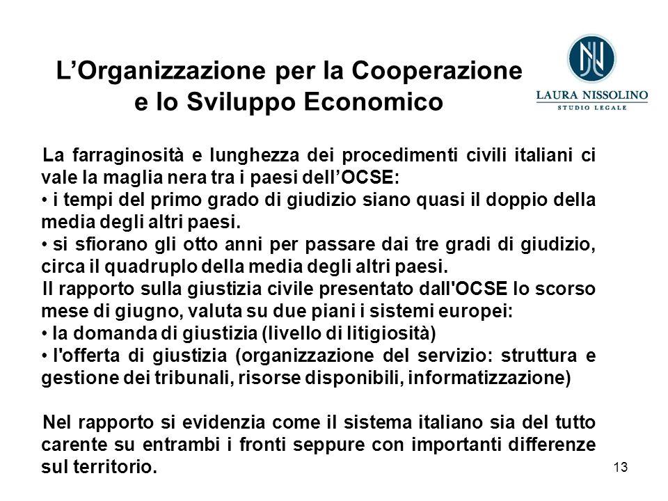 13 L'Organizzazione per la Cooperazione e lo Sviluppo Economico La farraginosità e lunghezza dei procedimenti civili italiani ci vale la maglia nera tra i paesi dell'OCSE: i tempi del primo grado di giudizio siano quasi il doppio della media degli altri paesi.