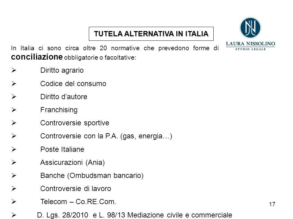 17 TUTELA ALTERNATIVA IN ITALIA In Italia ci sono circa oltre 20 normative che prevedono forme di mediazione o conciliazione obbligatorie o facoltative:  Diritto agrario  Codice del consumo  Diritto d'autore  Franchising  Controversie sportive  Controversie con la P.A.