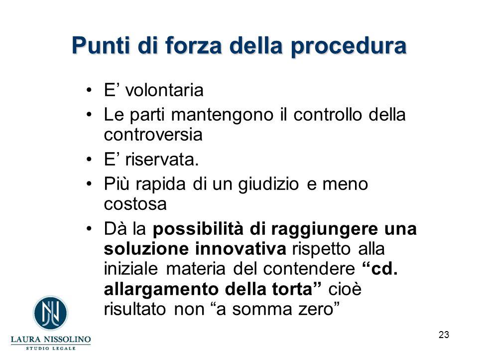 23 Punti di forza della procedura E' volontaria Le parti mantengono il controllo della controversia E' riservata.