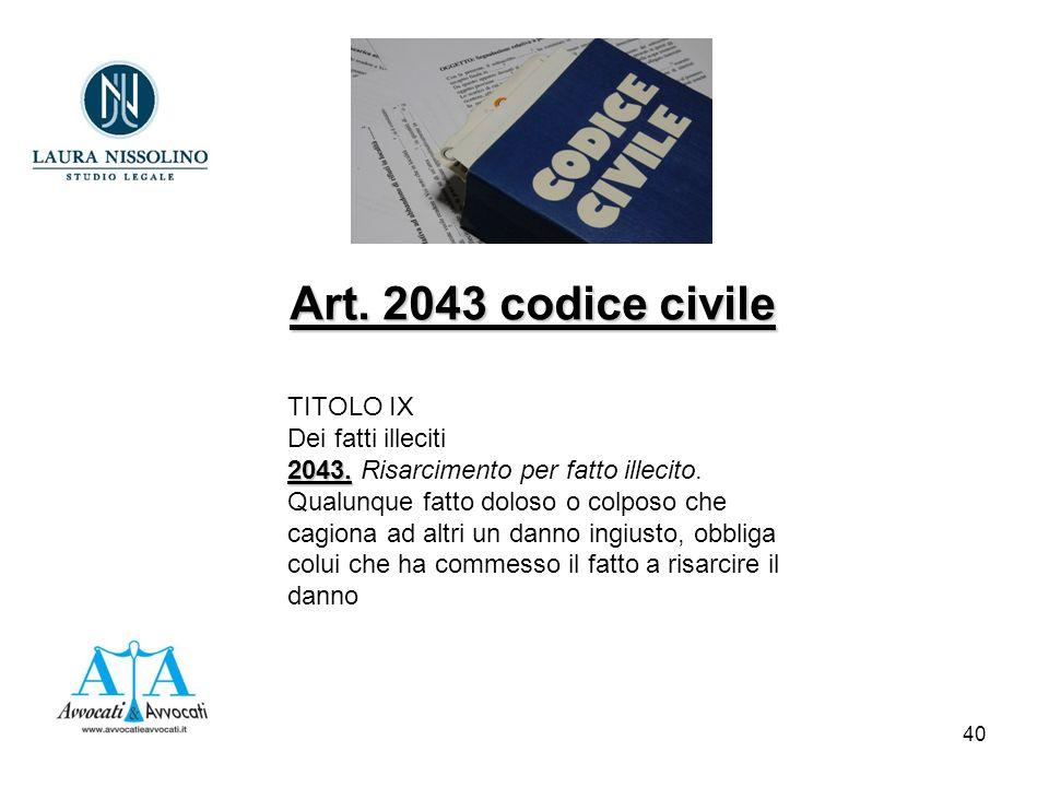 40 TITOLO IX Dei fatti illeciti 2043. 2043. Risarcimento per fatto illecito.