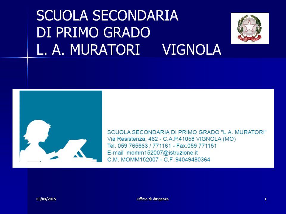 03/04/2015Ufficio di dirigenza1 SCUOLA SECONDARIA DI PRIMO GRADO L. A. MURATORI VIGNOLA