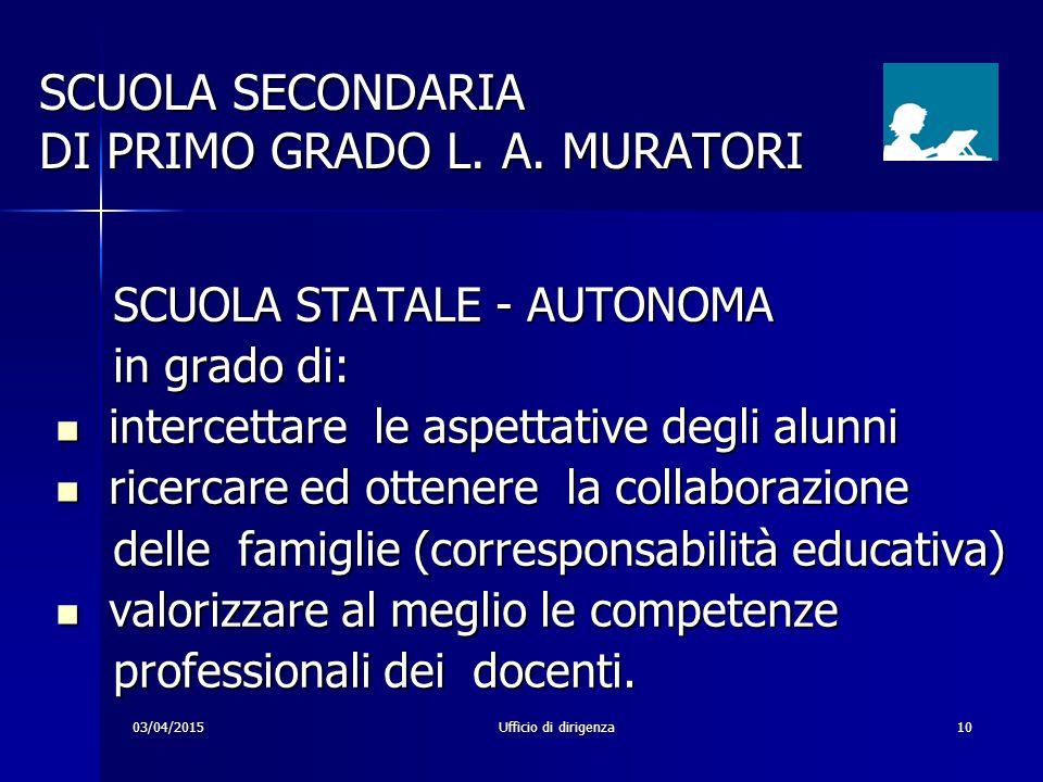 03/04/2015Ufficio di dirigenza10 SCUOLA SECONDARIA DI PRIMO GRADO L. A. MURATORI SCUOLA STATALE - AUTONOMA SCUOLA STATALE - AUTONOMA in grado di: in g