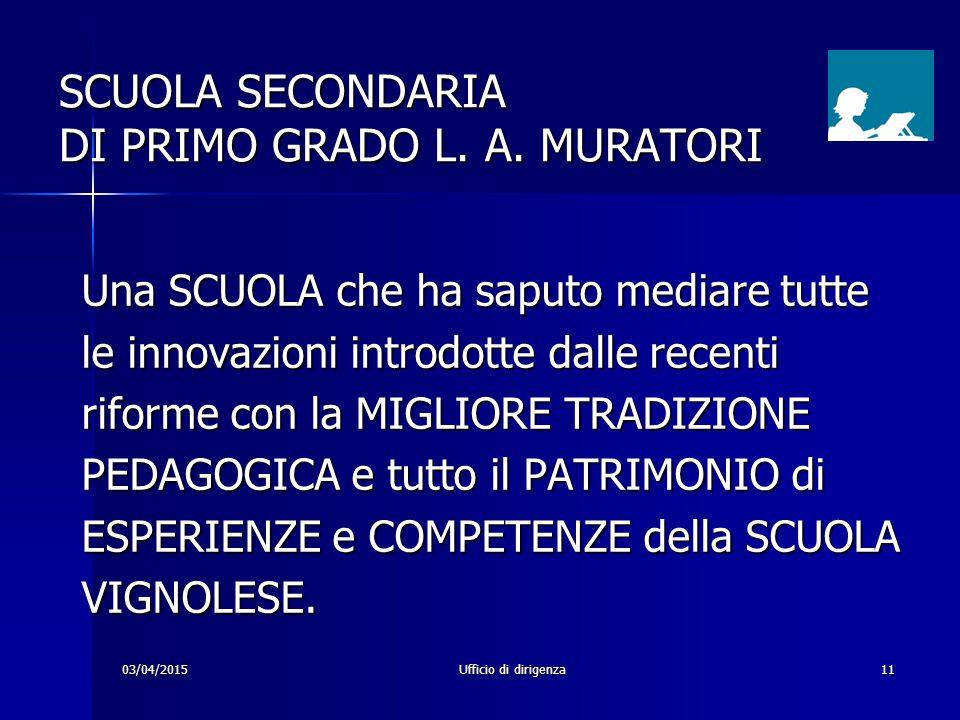 03/04/2015Ufficio di dirigenza11 SCUOLA SECONDARIA DI PRIMO GRADO L. A. MURATORI Una SCUOLA che ha saputo mediare tutte le innovazioni introdotte dall