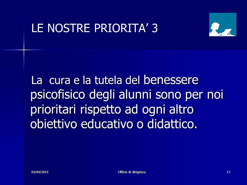 03/04/2015Ufficio di dirigenza17 LE NOSTRE PRIORITA' 3 La cura e la tutela del benessere psicofisico degli alunni sono per noi prioritari rispetto ad