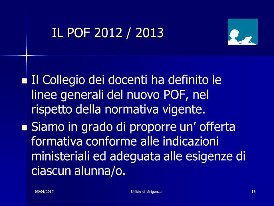 03/04/2015Ufficio di dirigenza18 Il Collegio dei docenti ha definito le linee generali del nuovo POF, nel rispetto della normativa vigente. Siamo in g
