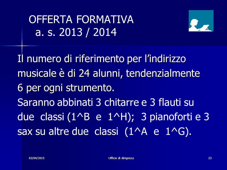 03/04/2015Ufficio di dirigenza23 OFFERTA FORMATIVA a. s. 2013 / 2014 Il numero di riferimento per l'indirizzo musicale è di 24 alunni, tendenzialmente