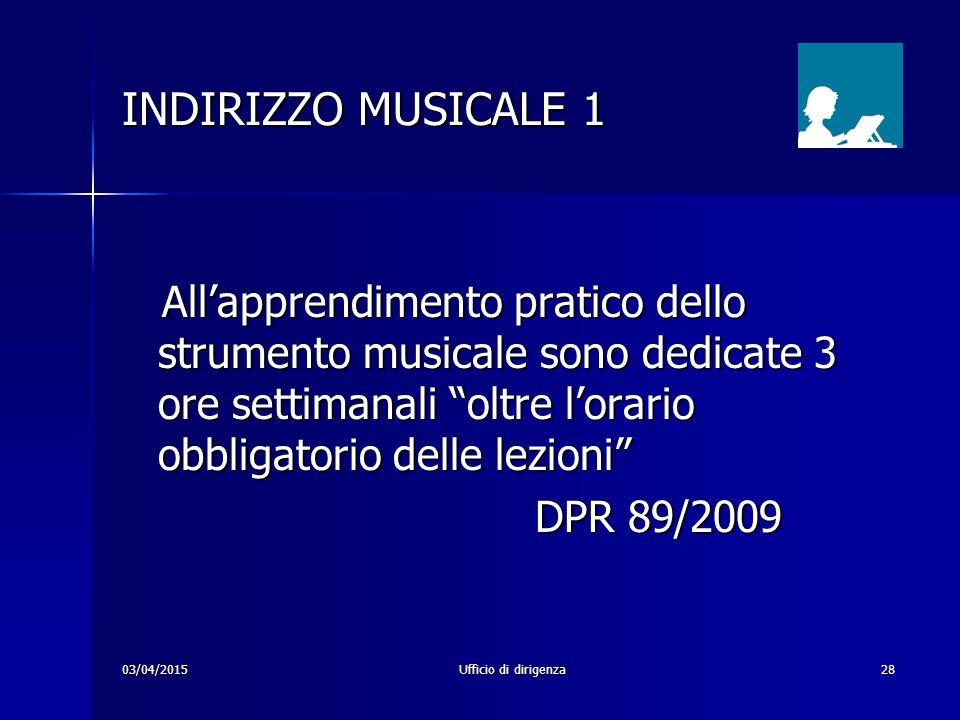 """03/04/2015Ufficio di dirigenza28 INDIRIZZO MUSICALE 1 All'apprendimento pratico dello strumento musicale sono dedicate 3 ore settimanali """"oltre l'orar"""