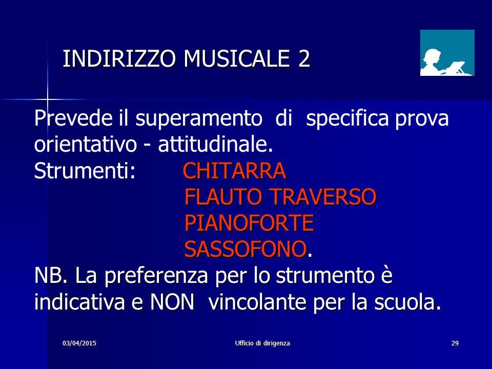 03/04/2015Ufficio di dirigenza29 INDIRIZZO MUSICALE 2 Prevede il superamento di specifica prova orientativo - attitudinale. CHITARRA Strumenti: CHITAR